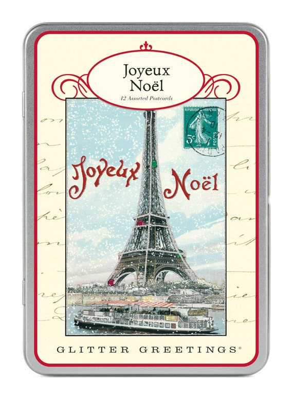 Image Carte Noel Vintage.Joyeux Noel Vintage Paris Glitter Greetings Eiffel Tower Carte Postale Postcard Set Christmas Winter Holiday Set Number 1