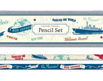 Vintage travel theme pencil set in decorative tin, pencils & sharpener