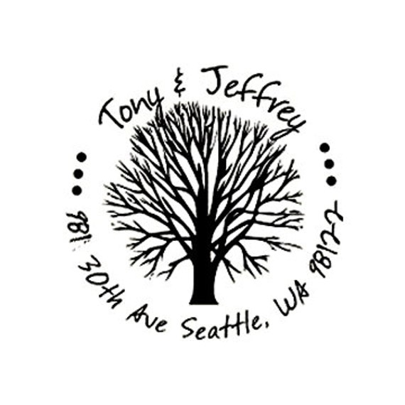 address stamp Personalized Tree Address Stamp - Round Return Address custom rubber Stamp  Wood Handle