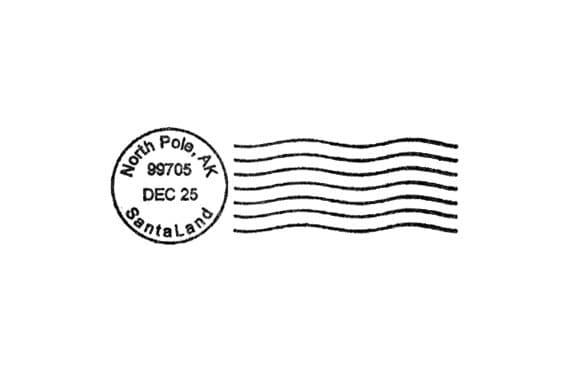 North Pole Santa Postmark For Christmas Rubber Stamp Postal Cancellation