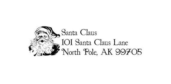 North pole santas return address rubber stamp santa claus etsy image 0 spiritdancerdesigns Images