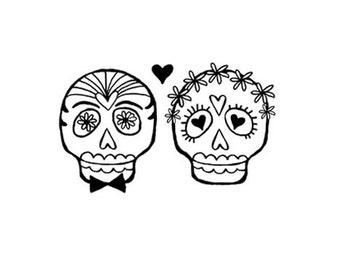 Wedding Bride and Groom Sugar skull rubber stamp bride groom