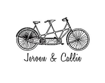 custom wedding stamp Bicycle built for two custom tandem