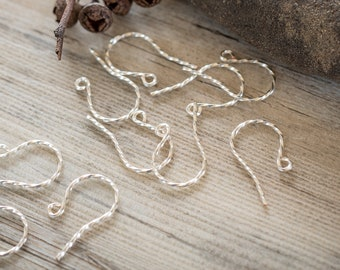Twisted Ear Wires/Hooks, Hand-made, High quality, Non-tarnish Silver Plated, DIY supply