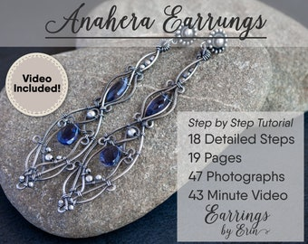 Wire Wrap Earring Tutorial PDF & Video Instant Download - Anahera Earring Jewelry Step by Step Guide, Jewellery Tutorial Digital Download