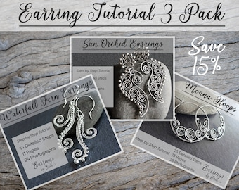 Wire Wrapping Earring Tutorial 3 Pack - Wire Jewelry Step by Step Guides, PDF Download, Wire Wrap Jewellery Tutorial Digital Download