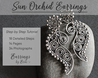 Wire Wrap Tutorial of Sun Orchid Earrings, Jewelry Pattern Step by Step Guide Instant Download, Jewellery Tutorial Digital PDF