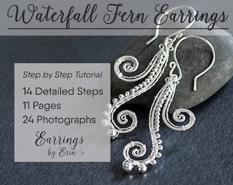Wire Wrapping Tutorial - Waterfall Fern Earrings Jewelry Step by Step Guide, PDF Download, Wire Wrap Jewellery Tutorial Digital Download
