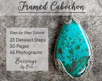 Wire Jewelry Tutorial, Framed Cabochon Pendant, Wire Wrap, Step by Step Guide, PDF Download, Jewellery Tutorial Digital Download