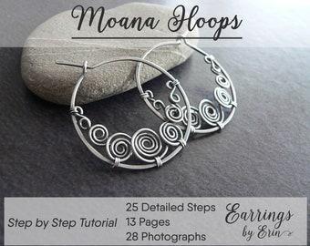 Wire Jewelry Tutorial PDF Download, Wire Wrap Moana Hoop Earrings Step by Step Guide, Jewellery Tutorial Digital Download