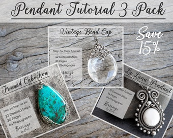 Wire Wrap Pendant Tutorial 3 Pack - Wire Jewelry Step by Step Guides, PDF Download, Wire Wrapping Jewellery Tutorial Digital Download