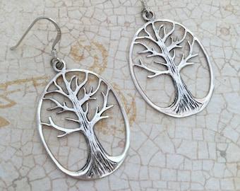 Large Sterling silver Tree earrings