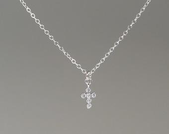 740e4c231 Small Diamond Cross Necklace for Women, Tiny Diamond Cross, Girls Sterling  Silver Cross Necklace, Dainty CZ Cross Charm, Baptism Gift Idea