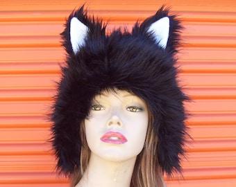 Black Animal Hat Thick Fur Wolf Ears Animal Creature Kitty Cat Coyote Costume Unisex Birthday Hat Halloween Costume Wig Adult