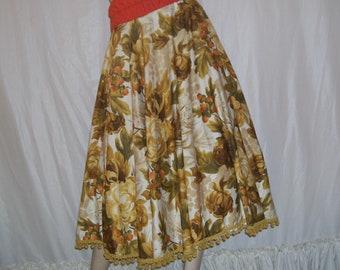 Earthy Autumn Circle Skirt w Fringe High Waist Boho Bohemian Wandering Gypsy Vintage Cotton Tablecloth Natural Tones Floral Skirt Adult S-XL