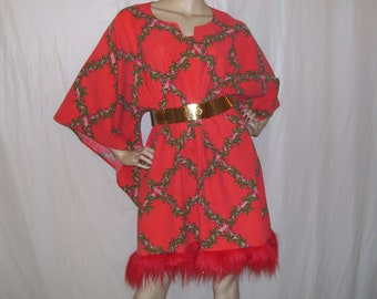 883a5d6d987 Christmas Dashiki Caftan Red Green Dress Vintage Cotton Angel Cruise Resort  Hippie Fur Upcycled Holiday Dress Ugly Sweater Party Adult FS