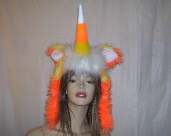 Unicorn Hood Hat Rainbow Pom Poms Horn Ears Childrens Fancy Dress Party