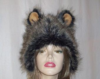 26c0eac770f Fur Hedgehog Hat OOAK Animal Porcupine Bear Costume Birthday Christmas Gift  Ear Hat Furry Warm Winter Trapper Hat Black Tan Unisex Adult Hat