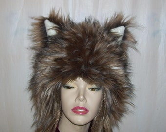 23ff4cb6d85 Furry Wolf Hat Ears Brown Gray Wolf Mardi Gras Furry Ear Hat Coyote Fluffy  Wolf Warm Winter Christmas Birthday Gift Adult Unisex Fur Hat