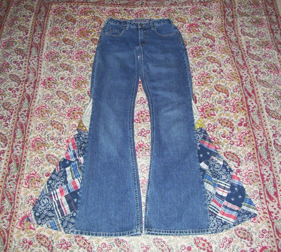 Hippie Bell Bottom Jeans OOAK Velvet Corduroy Owls Owl Applique Bells Boho Patchwork Upcycled Flare Jean Unique Bell Bottoms Silver Adult 32