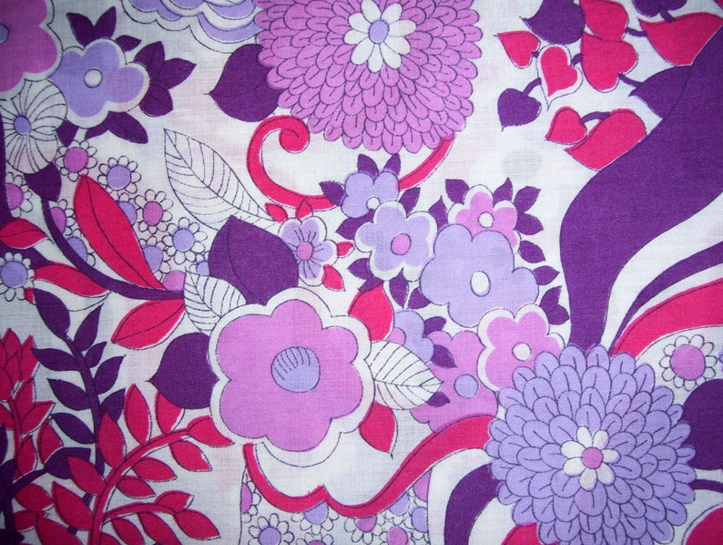 Sheer Floral Fabric Vintage Fabric Bright Colors Hippie Flower Power Cotton Sheer Summer Dress Material Purple Lilac Fuschia 4 yard x 45