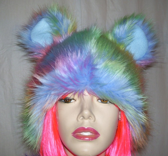 Gay Pride Halloween Costume.Rainbow Bear Hat Furry Pride Rainbow Mouse Wolf Animal Halloween Costume Hat Gay Pride Parade Wig Head Piece Pastel Adult Unisex Gift