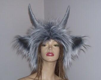 Monster Horn Hat Gray White Yeti Frost Demon Costume Furry Warm Winter Horned Hat Weird Birthday Gift Halloween Adult Unisex Hat