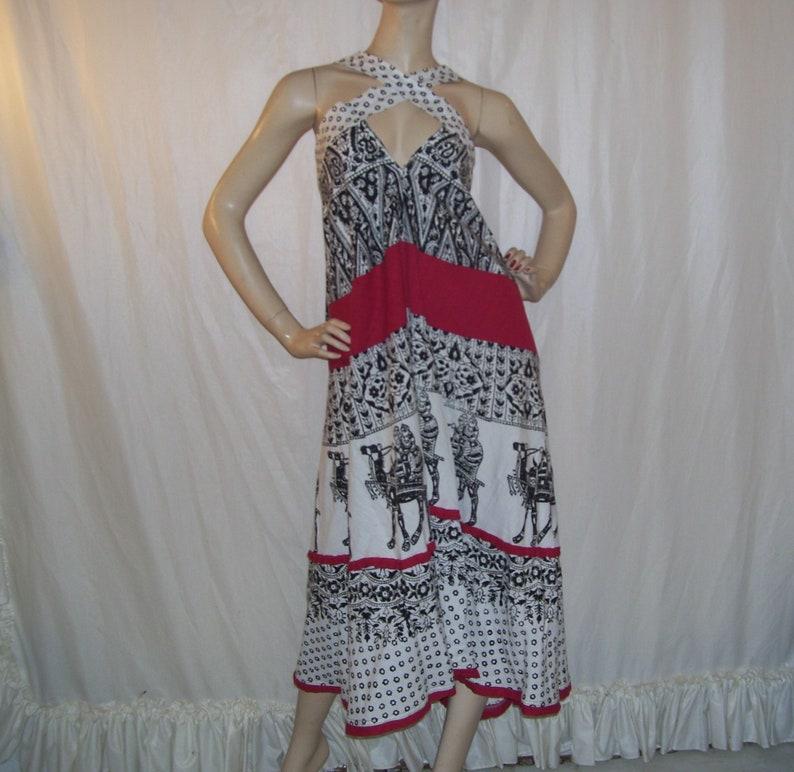 d4f2c33dcbb187 Indien Batik Sommerkleid OOAK Hippie Kleid Kamel reiten Block | Etsy