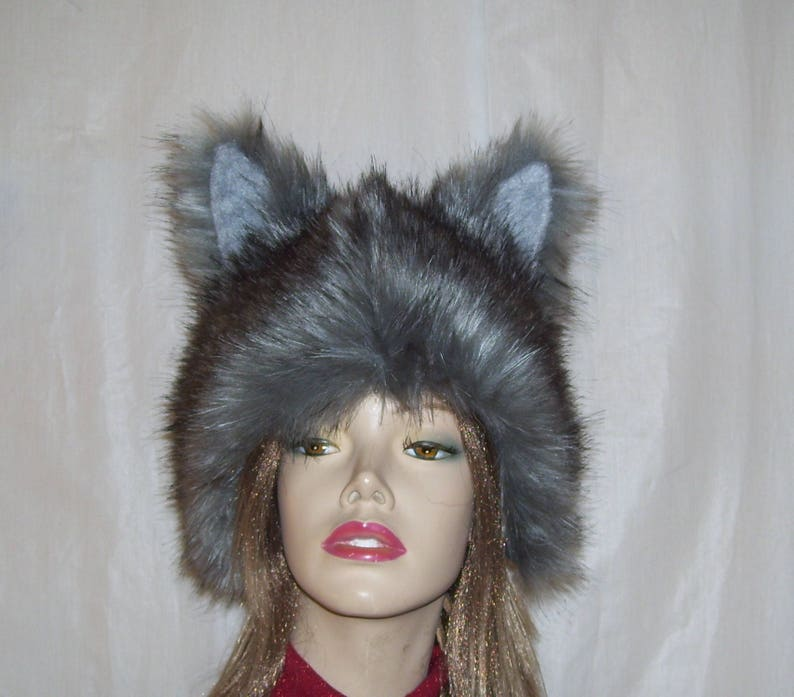 Furry Wolf Hat Ears Gray Black Wolf Ear Fur Coyote Hat Wolf  d8a6442ab14