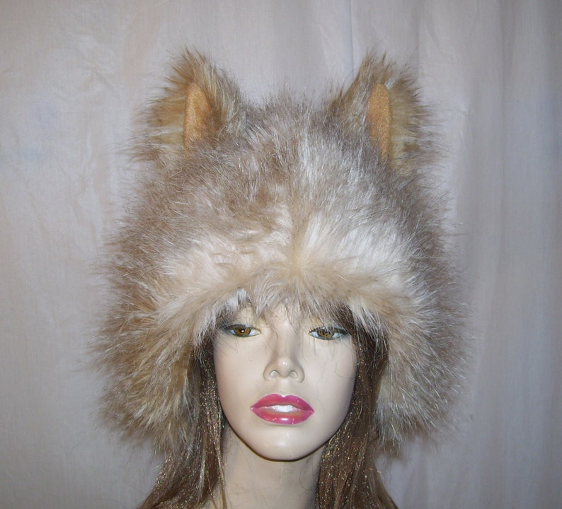 ea0c60971c97a Fur Wolf Hat Brown OOAK Furry Wolf Pack Coyote Cat Woodland | Etsy