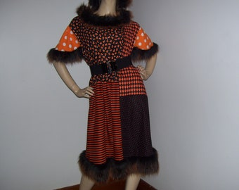 Candy Corn Dress Flutter Fur Dress Polka Dot Stripe Patchwork Halloween Monster Costume Party OOAK Maternity Adult Plus Size Ready to Ship