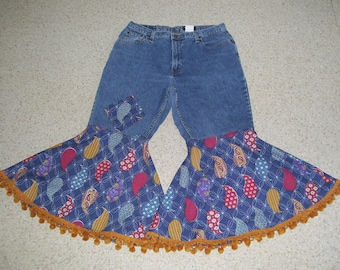 Retro Hippie Bell Bottom Jeans OOAK Bohemian Boho Upcycled Blue Flare Cropped Jean Summer Gypsy Bell Bottoms Women sz 12 Ready to Ship