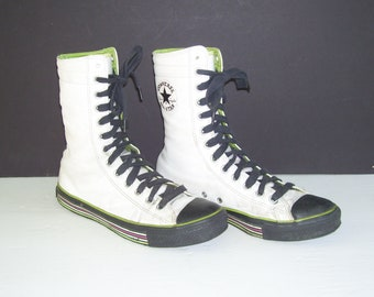 Leather Converse All Stars Extra Tall High Top Vintage Shoes Chuck Taylors White Black Green Sneakers Men 7.5 Women 9.5