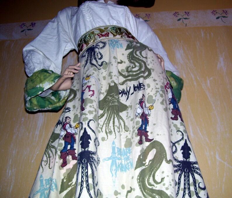 Pirates Kraken Dress Hat Squid Caribbean Disney Resort Renaissance Fair OOAK Fringe Vintage Trim Halloween Mom Party Dress w Belt Adult L XL