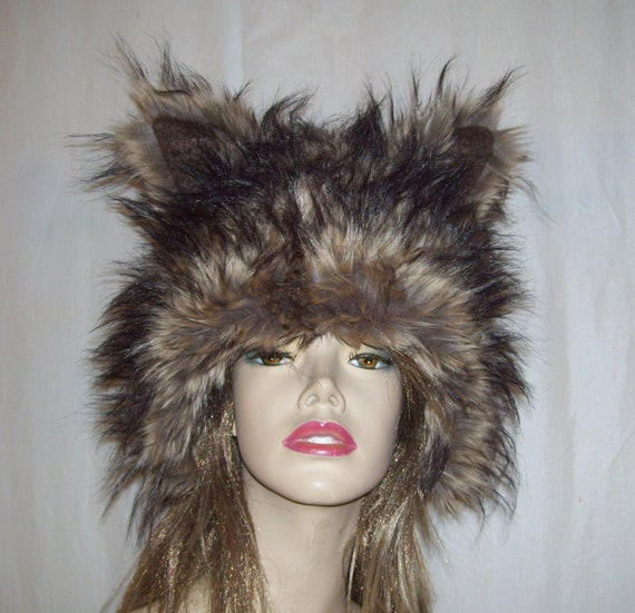 64ba217e178d5 Furry Coyote Hat Brown Wild Fur Wolf Beast Mardi Gras Costume | Etsy