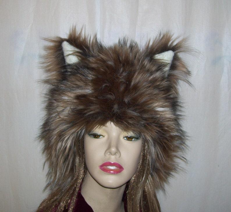 99ab54c3f0187 Furry Wolf Hat Ears Brown Gray Wolf Mardi Gras Furry Ear Hat