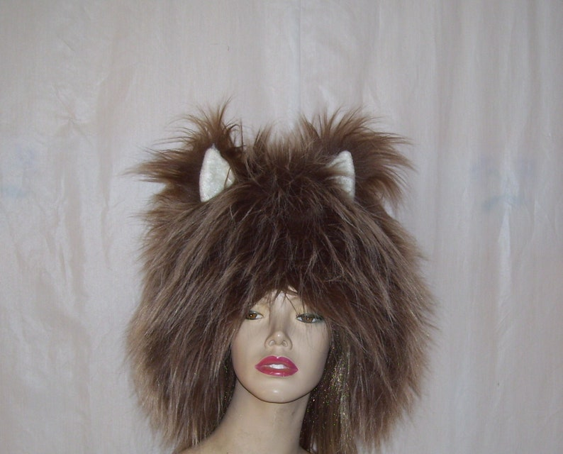 bcc013e2f3c Wild Thing Hat Ears Fluffy Monster Brown Wolf Fur Warm Winter