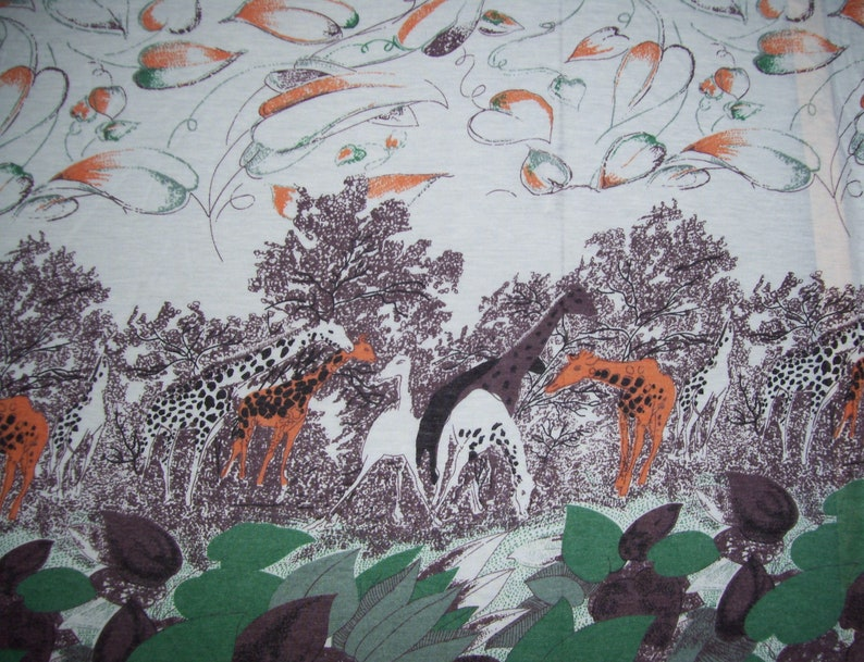 7 yds Giraffe Stretch Fabric Vintage Fabric Orange Green Semi Sheer Hippie  Tree Summer Dress Stretchy Jersey USA Made Material 7 yards x58