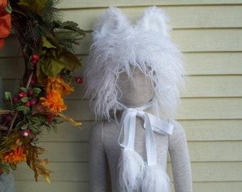 Coton Bichon Poodle Furry Hat Ears Kid Fur White Dog Winter Warm Animal Dog Head Piece Costume Fur Birthday Kid Toddler Child Fur Hat Black