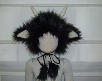 Furry Wild Thing Hat Horn Fur Hat Monster Furry Creature Hat Birthday OOAK Halloween Costume Head Piece Toddler Child Kid Unisex