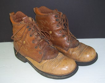 Ariat Fat Baby Prairie Boots Leather Ostrich Lace Up Kilt Paddock Stable Boots Vintage Cowboy Western Chestnut Brown Embroidery women 9 B