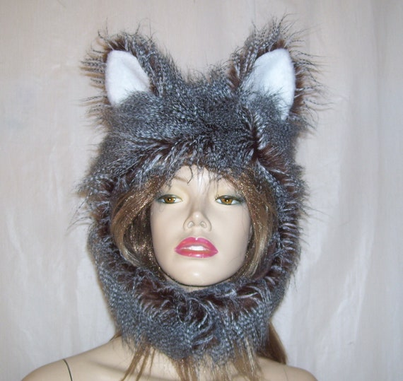 477d62086dd Animal Fur Hat Furry Hood Brown Fox Owl Feather Ears Warm