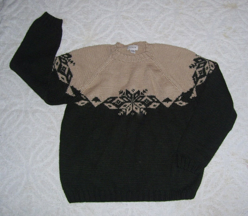 7f6d2bd9b86e42 JCrew Wool Sweater Vintage Snowflake Ski Lodge Thick Wool J