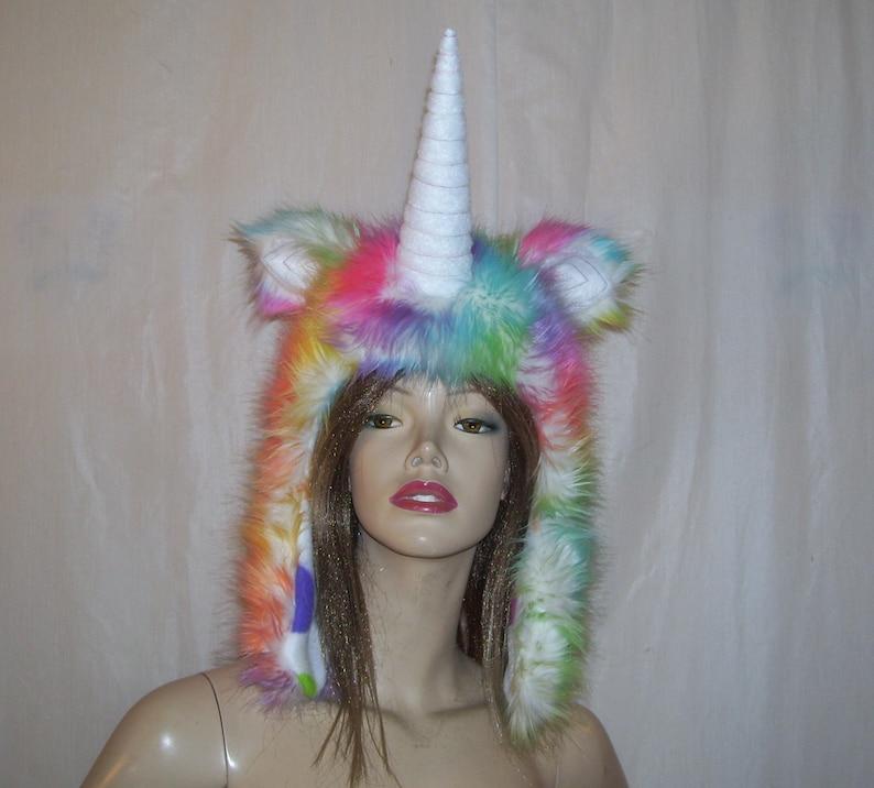Gay Pride Halloween Costume.Unicorn Fur Hat Adult Furry Fantasy Hood Rainbow Unicorn Hood Faux Fur Big Horn Halloween Costume Fur Head Piece Gay Pride Unicorn Fur Hat