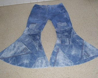 OOAK Hippie Bell Bottom Jeans Levi 511 Upcycled Patched Jean Unique Huge Flare Bottoms Unisex Adult Plus size 38 x 31 Ready to Ship