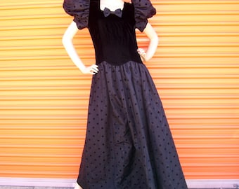 "Black Prom Gown 80s 1980s Huge Puff Puffy Sleeve Polka dot Taffeta Velvet Drop Waist Halloween Costume Party Dress Retro Maxi 38"" Ch"