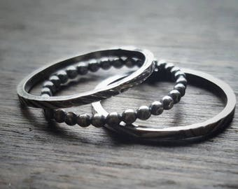 Textured Silver Ring - Tire Tread Ring - Stacking Ring Set - Silver Stacking Rings - Thin Sterling Ring - Blackened Silver - Set of 3