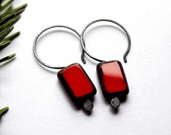 Red Bead Earrings - Minimalist Earrings - Everyday Earrings - Czech Glass Earrings Sterling Silver - Red Earrings Drop -  Rectangle Earrings