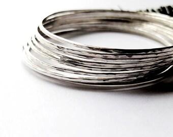 Set of 9 Solid Sterling Silver Stacking Bracelet, Hammered Skinny Bangles For Women - Prisms