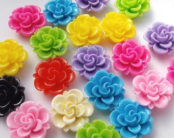 18 Cabs 19mm Assorted Resin Roses, Spring Flowers Cabochon, 19 mm Classic Rose Cab, Red Pink Green Yellow Blue Purple Black Offwhite Cream